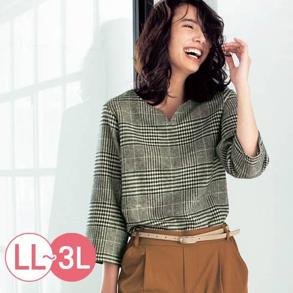 日本代購-cecile親膚印度棉格紋上衣-黑色系(LL-3L) 日本代購,格紋