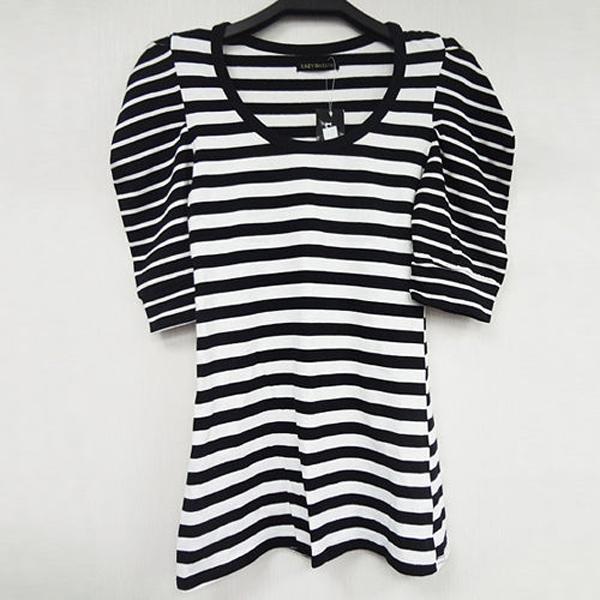 日本CIELO 現貨-條紋對比上衣-黑白色/M 日本,CIELO,上衣