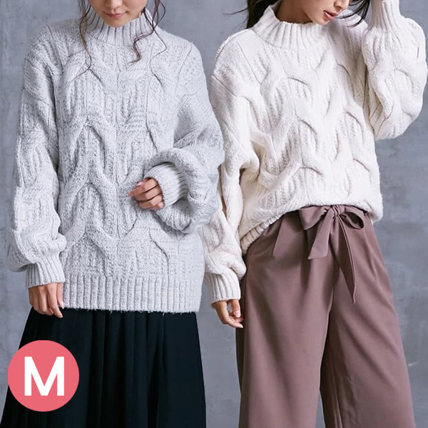 日本代購-立體花樣泡泡袖高領針織上衣(共三色/M) 日本代購,泡泡袖