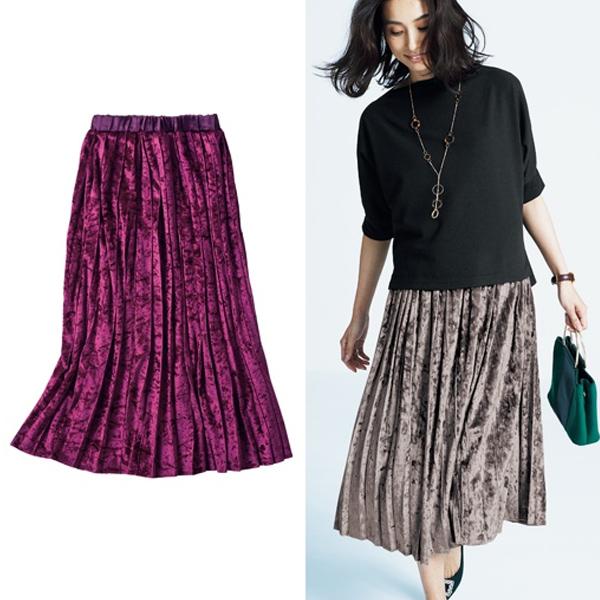 日本代購-特價天鵝絨彈性腰圍百褶裙3L(售價已折) 日本空運,東區時尚,百褶裙