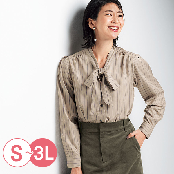 日本代購-cecile肩皺褶設計領結蜜桃絨發熱襯衫(共三色/S-LL) 日本代購,CECILE,發熱衣
