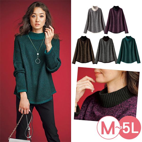 日本代購-portcros雅緻高領配色提花針織上衣(共五色/3L-5L) 日本代購,portcros,針織