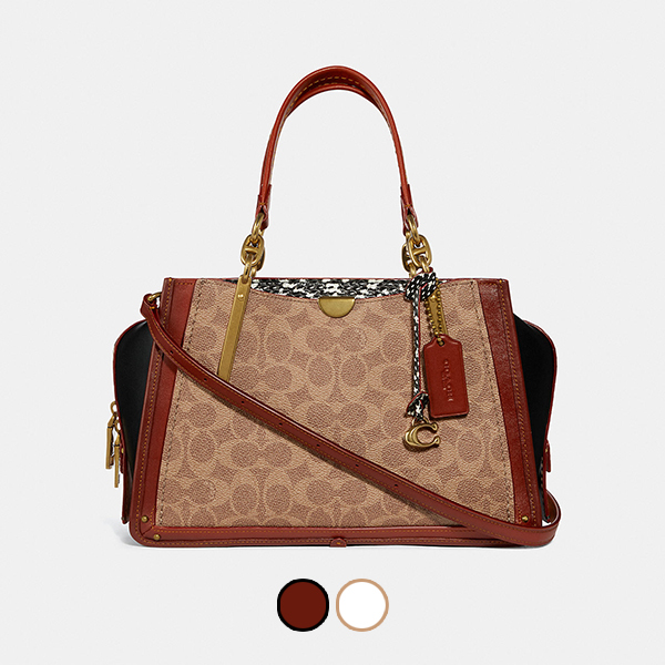 日本代購-COACH DREAMER 蛇皮帆布拼接2way手提包(共二色) agnes b.,東區時尚,手提包