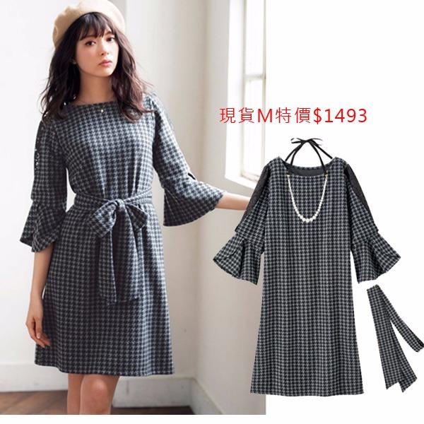 日本代購-現貨GINGER附項鍊蕾絲造型袖洋裝(千鳥紋M) 日本代購,GINGER,蕾絲