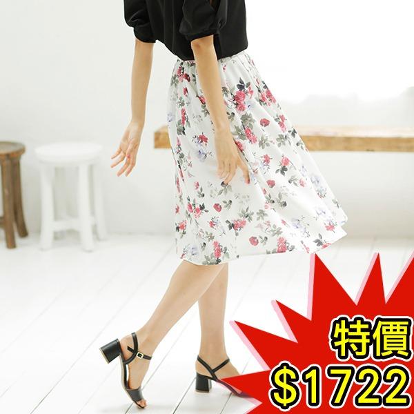 日本代購-INGNI高雅花朵印花折縫圓裙(共三色) 日本空運,東區時尚,短裙