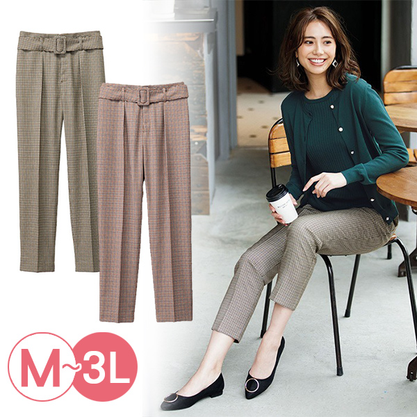 日本代購-附腰帶小格紋錐形褲(共二色/3L) 日本代購,格紋,錐形褲