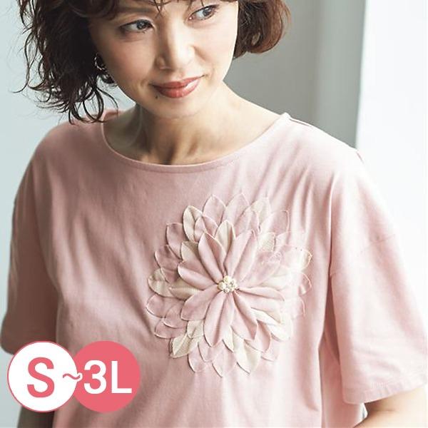 日本代購-cecile折縫下擺立體花朵造型上衣S-LL(共五色) 日本代購,CECILE,上衣