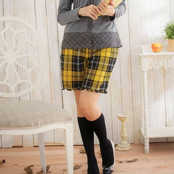 現貨-滾荷葉邊經典格紋短褲(共一色/M) 日本代購,現貨,短褲