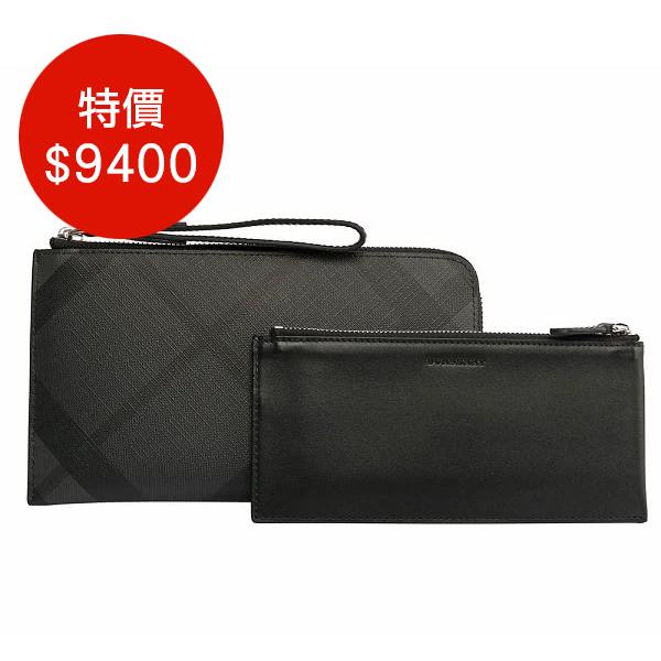日本代購-BURBERRY London 格紋拉鏈旅行皮夾(碳黑) agnes b.,東區時尚,格紋