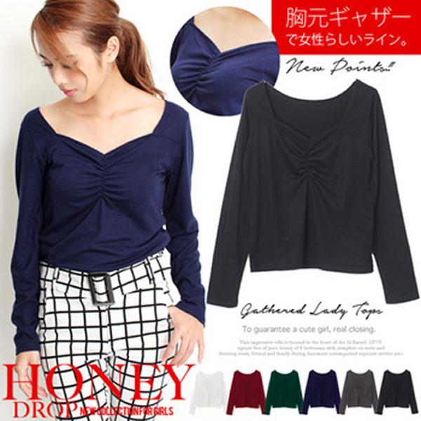 日本現貨CIELO 胸前皺褶設計素色上衣-黑/M 日本代購