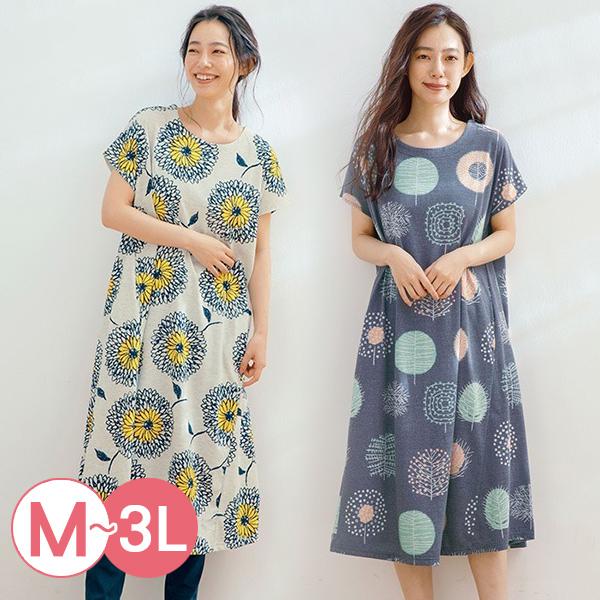 日本代購-北歐風印花連身洋裝(共五色/3L) 日本代購,北歐,洋裝
