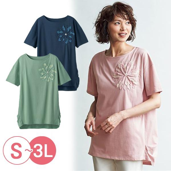 日本代購-cecile折縫下擺立體花朵造型上衣3L(共五色) 日本代購,CECILE,上衣