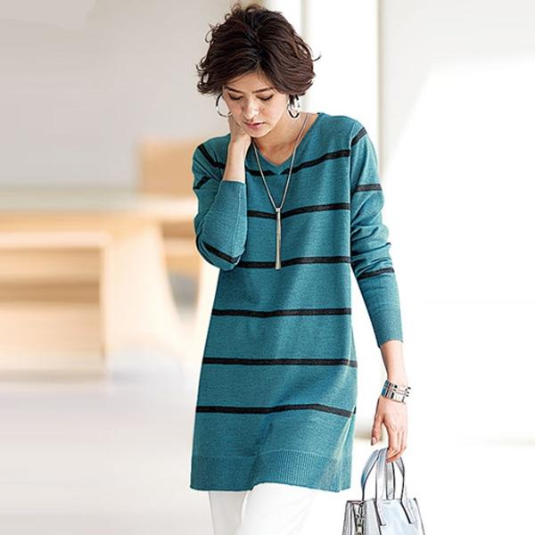 日本代購-portcros V領配色條紋A-LINE長版針織上衣(3L-5L) 日本代購,portcros,針織