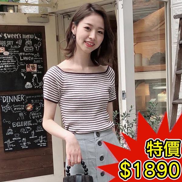日本代購-COCO DEAL簡潔配色條紋方領針織上衣(共二色) 日本空運,東區時尚,條紋