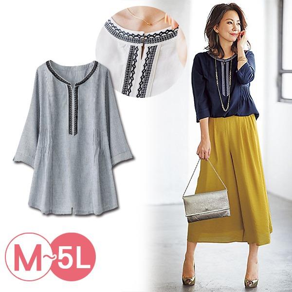 日本代購-portcros造型壓褶刺繡上衣3L-5L(共五色) 日本代購,portcros,刺繡