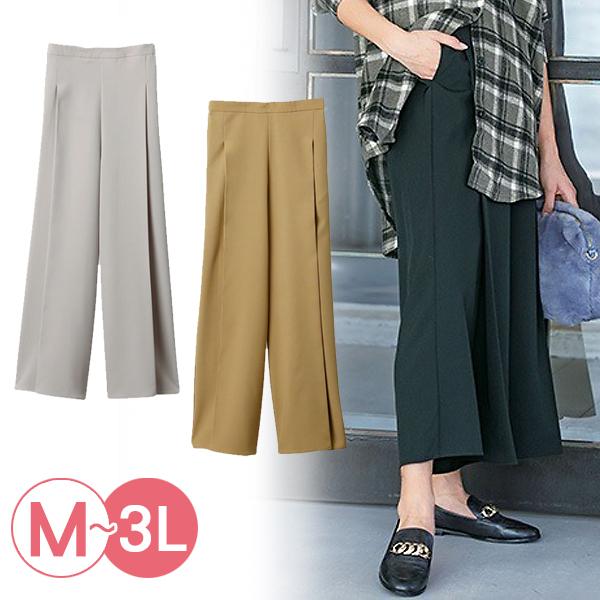 日本代購-RyuRyu mall打褶設計修身時尚寬褲(共三色/3L) 日本代購,RyuRyu mall,寬褲