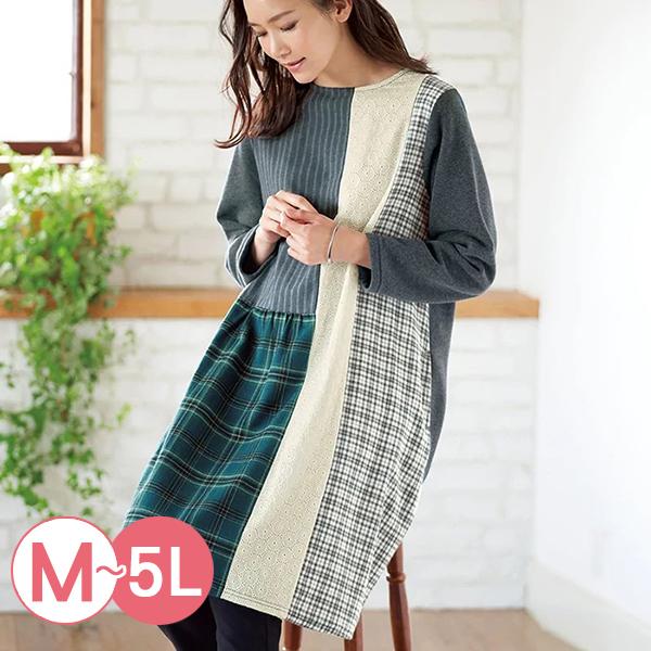 日本代購-拼布風蕾絲格紋裡拉絨洋裝(共二色/M-LL) 日本代購,蕾絲,格紋