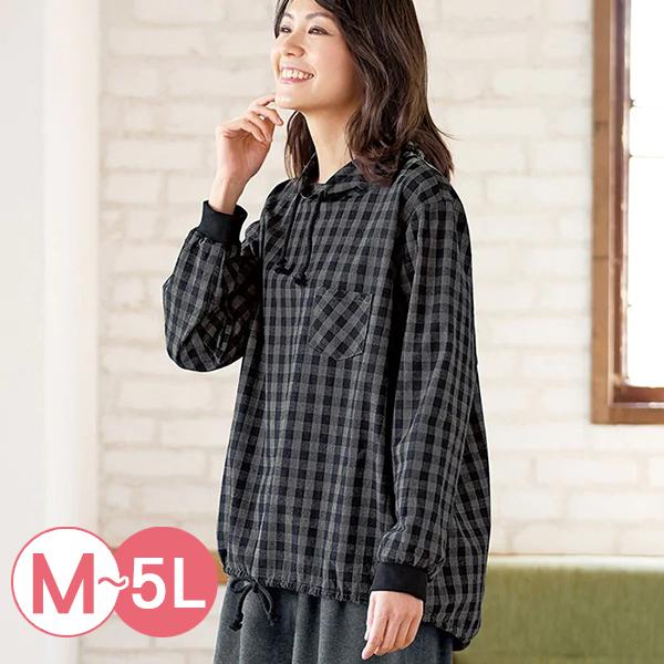 日本代購-純棉造型抽繩羅紋袖口上衣(共三色/M-LL) 日本代購,純棉,格紋