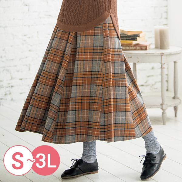 日本代購-cecile柔軟格紋法蘭絨百褶長裙(共二色/S-LL) 日本代購,CECILE,格紋