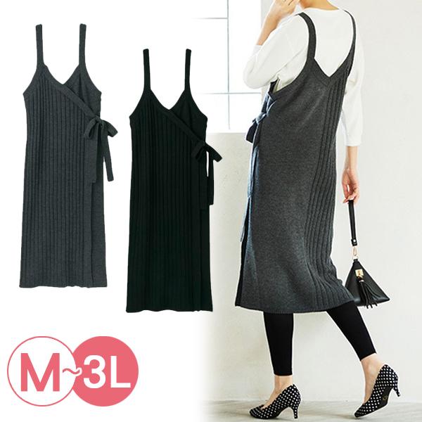 日本代購-portcros羅紋針織綁結背心裙(共二色/3L) 日本代購,portcros,背心裙