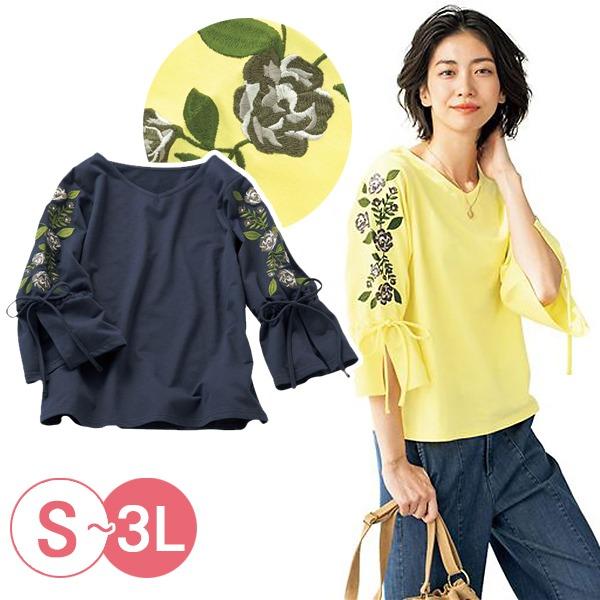 日本代購-cecile優雅刺繡綁結袖上衣3L(共二色) 日本代購,CECILE,刺繡