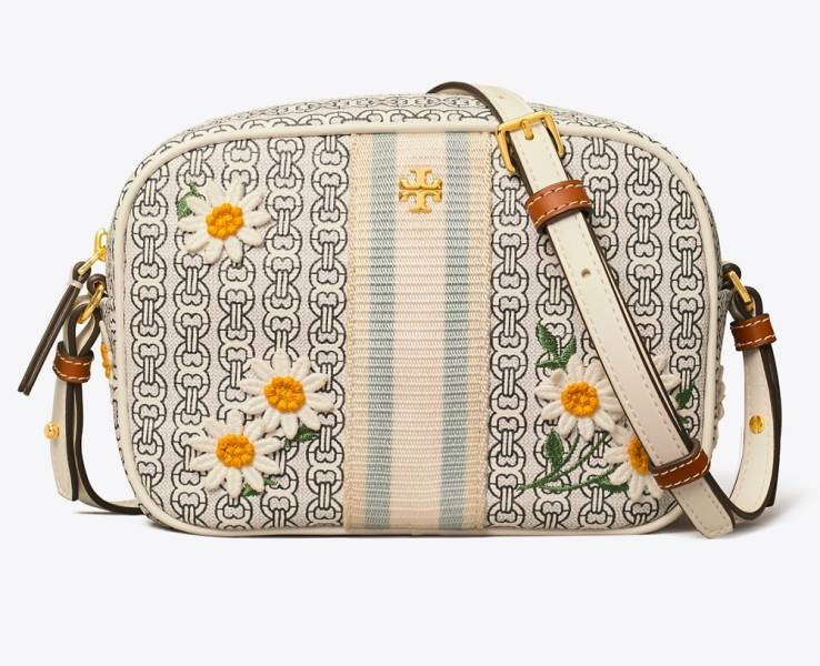 超值代購TORY BURCH GEMINI LINK CANVAS APPLIQUE MINI BAG 小雛菊相機包(售價已折) Tory Burch