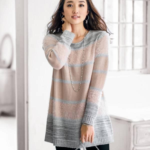 日本代購-特價portcros柔軟舒適的羽毛紗橫紋長版衫M-LL(售價已折) 日本代購,portcros,長版衫