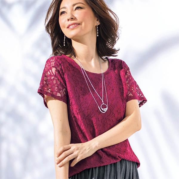 日本代購-現貨portcros優雅上品全蕾絲上衣(橘黃/L) 日本代購,portcros,上衣