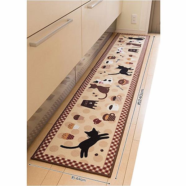 日本代購-咖啡貓咪防滑廚房地墊(中/共二色) 日本代購,日本帶回,東區時尚,貓咪,防滑,廚房地墊