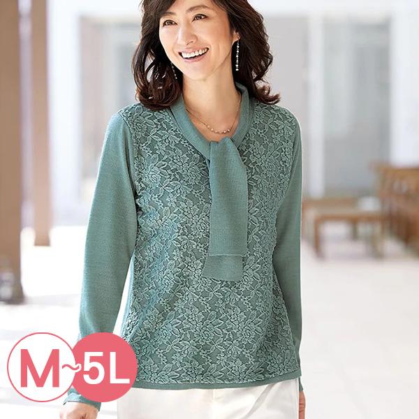 日本代購-雅緻蕾絲領結針織上衣(共四色/M-LL) 日本代購,蕾絲,針織