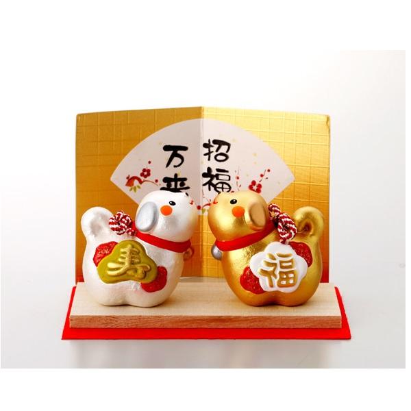 日本代購-新年開運招福金銀福壽犬置物 日本代購,東區時尚,狗年,開運,招福