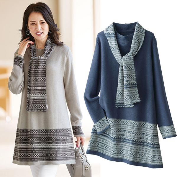 日本代購-特價portcros附圍巾提花高質針織長版上衣M-3L(售價已折) 日本代購,portcros,長版衫