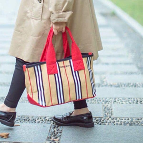 超值特價BURBERRY條紋搭配皮革邊飾拖特包(售價已折) 日本代購,BURBERRY,拖特包