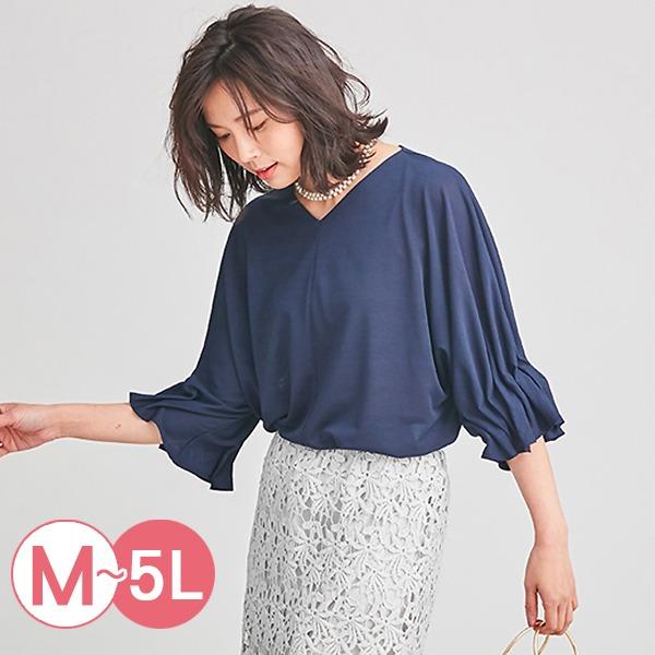 日本代購-portcros壓褶造型袖口V領上衣3L-5L(共五色) 日本代購,portcros,V領