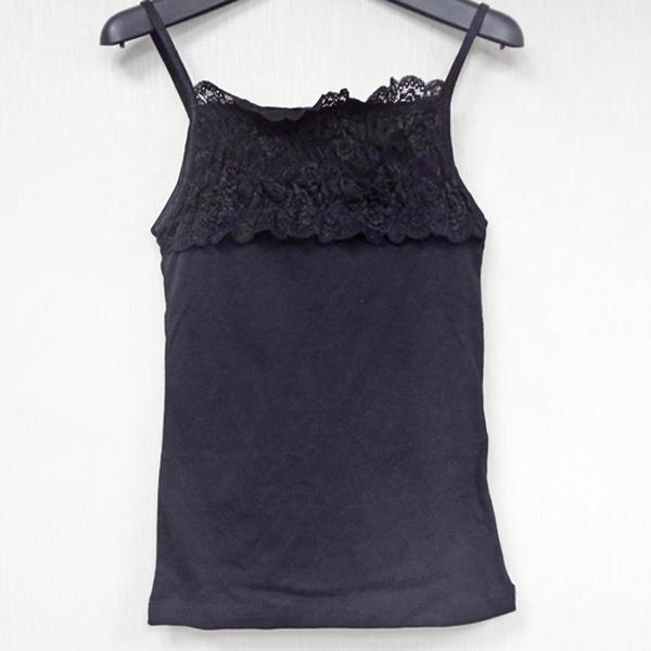 現貨-舒適綿質拼接蕾絲小背心(黑色/F) 日本代購,現貨