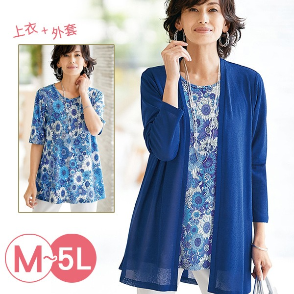 日本代購-portcros兩件式印花短袖上衣針織外套組(共三色/M-LL) 日本代購,portcros,針織
