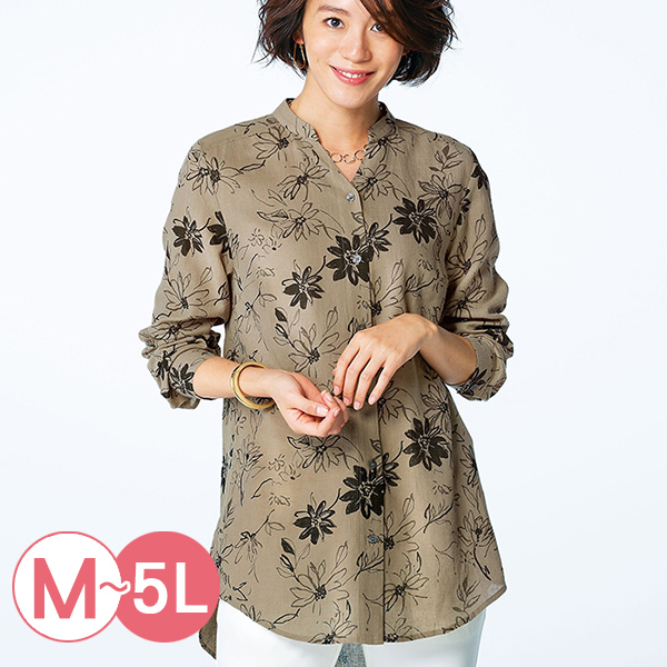 日本代購-portcros小立領棉麻印花長版襯衫M-LL(共五色) 日本代購,portcros,長版