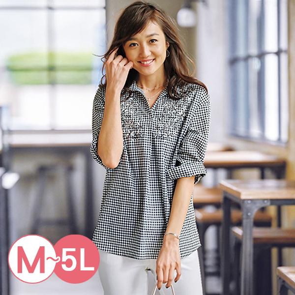 日本代購-刺繡折縫純棉七分袖襯衫(共四色/3L-5L) 日本代購,刺繡,襯衫