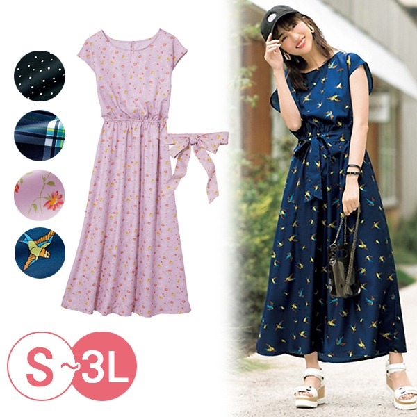 日本代購-portcros鬆緊腰繫帶連肩袖洋裝(共四色/3L) 日本代購,portcros,洋裝