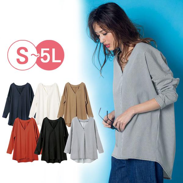 日本代購-portcros前短後長V領打褶造型上衣(共六色/3L-5L) 日本代購,portcros,前短後長