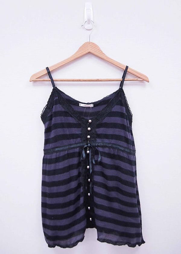日本CIELO 現貨-珠飾蝴蝶結條紋背心(黑紫色/M) 日本代購