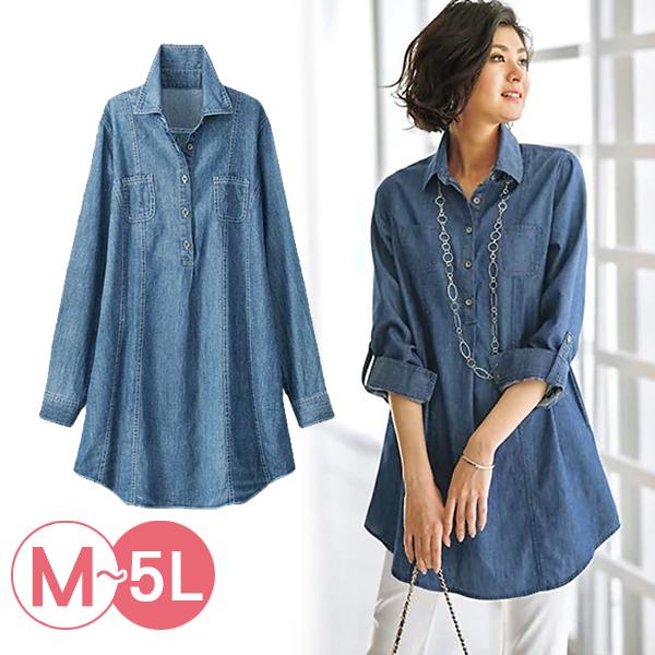 日本代購-襯衫領口袋長版牛仔上衣(共二色/3L-5L) 日本代購,長版,牛仔