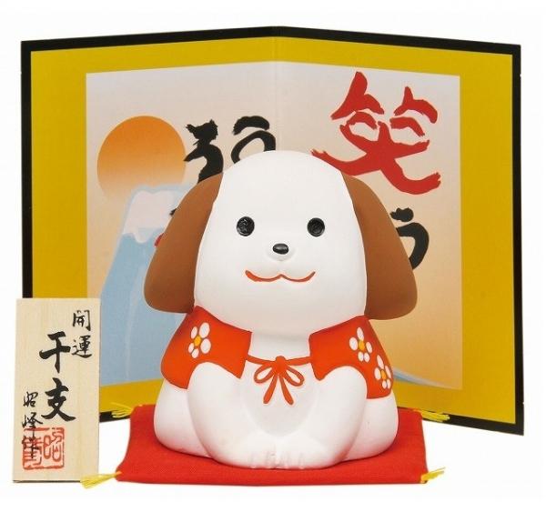 日本代購-新年開運招福坐姿笑犬置物 日本代購,東區時尚,狗年,開運,招福