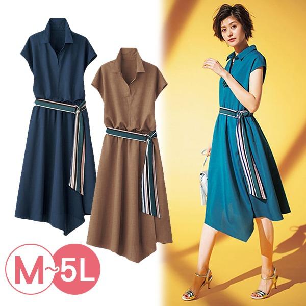 日本代購-portcros條紋腰帶不對稱裙擺洋裝3L-5L(共三色) 日本代購,portcros,不對稱