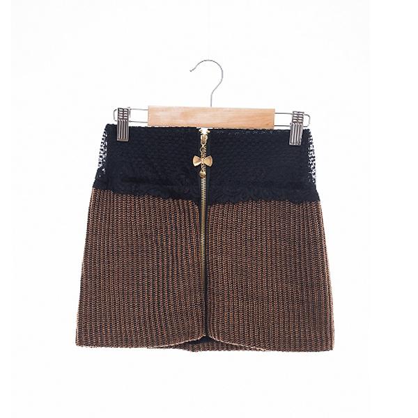現貨-日本代購 蝴蝶結拉鏈蕾絲拼接針織短裙(駝/M) 日本代購,現貨,短裙