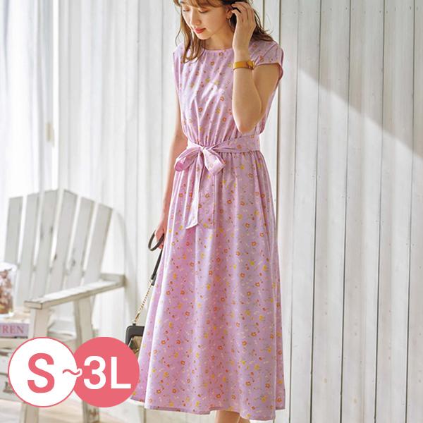 日本代購-連肩袖鬆緊腰身印花繫帶洋裝(共三色/S-LL) 日本代購,印花,洋裝