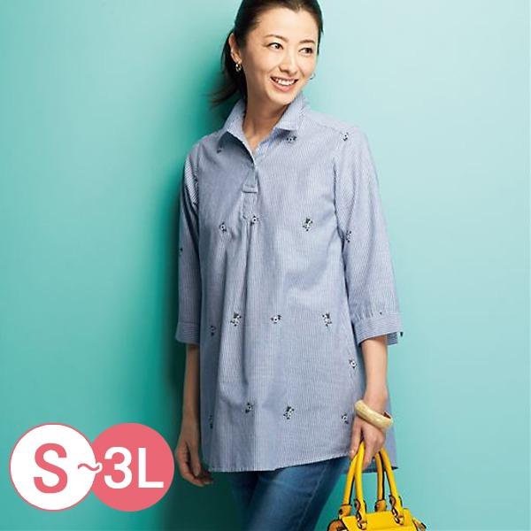 日本代購-cecile純棉七分袖半開襟長版襯衫S-LL(共五色) 日本代購,CECILE,長版