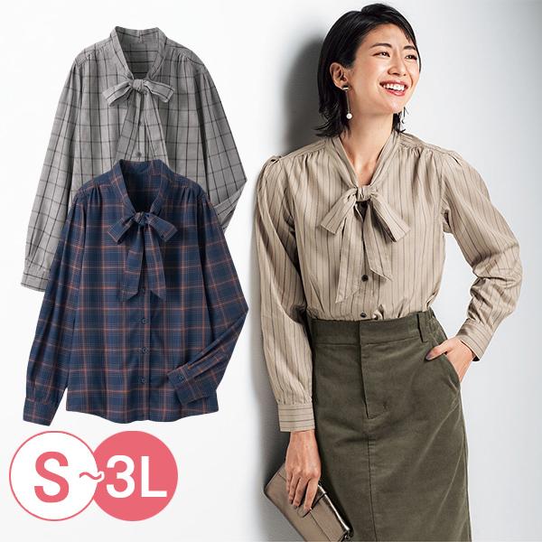 日本代購-cecile肩皺褶設計領結蜜桃絨發熱襯衫(共三色/3L) 日本代購,CECILE,發熱衣