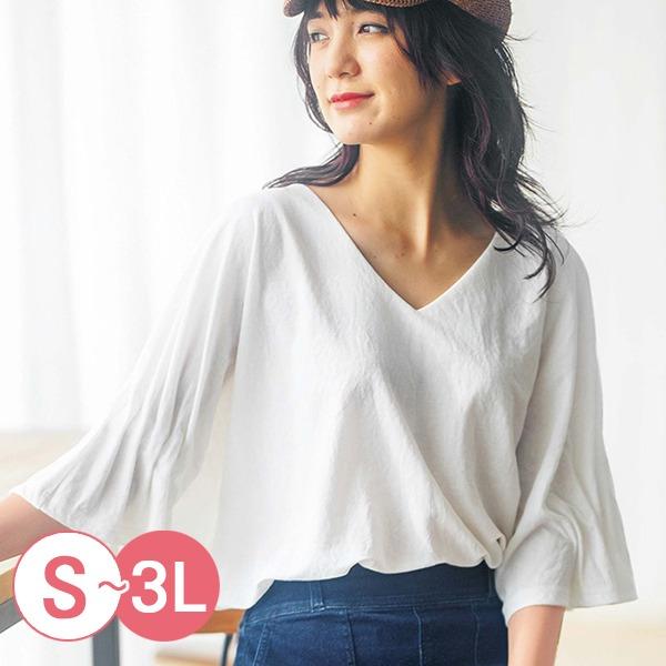 日本代購-portcros折縫造型袖V領上衣S-LL(共五色) 日本代購,portcros,V領