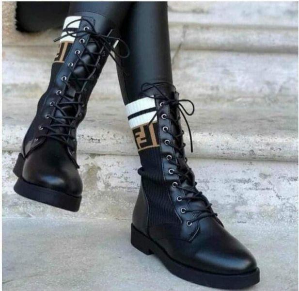 日本代購-FENDI 撞色針織拼牛皮馬靴(售價已折) FENDI 撞色針織拼牛皮馬靴